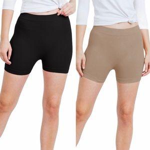 Biker Shorts set of 2 black and mocha size small